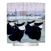 Winter At The Convent Shower Curtain by Margaret Loxton