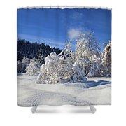 Winter Blanket Shower Curtain by Mike  Dawson