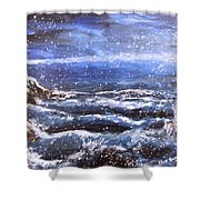 Winter Coastal Storm Shower Curtain by Jack Skinner