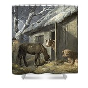 Winter Farmyard Shower Curtain by George Morland