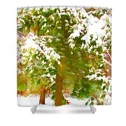 Winter In  Catskills Shower Curtain by Lanjee Chee