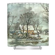 Winter in the Country - the Old Grist Mill Shower Curtain by Currier and Ives