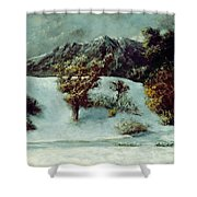 Winter Landscape With The Dents Du Midi Shower Curtain by Gustave Courbet