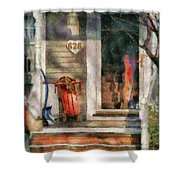 Winter - Rosebud And Shovel - Painted Shower Curtain by Mike Savad