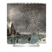 Winter Scene Shower Curtain by Louis Claude Mallebranche