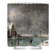 Winter Scene Shower Curtain by Louis Claude Mallebranche