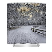Winter Sunrise Shower Curtain by Sebastian Musial