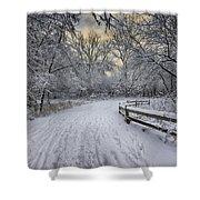 Winter Sunrise Shower Curtain by Sebastian Musial