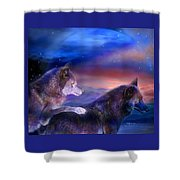 Wolf Mates Shower Curtain by Carol Cavalaris