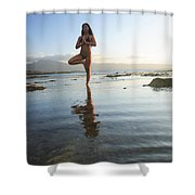 Woman doing Yoga Shower Curtain by Brandon Tabiolo - Printscapes