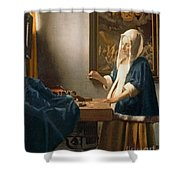 Woman Holding A Balance Shower Curtain by Jan Vermeer