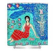 Woman Reading Beside Fountain Shower Curtain by Sushila Burgess