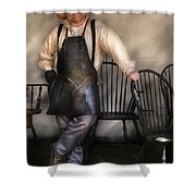 Woodworker - The Chair Maker  Shower Curtain by Mike Savad