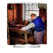 Woodworker - The master carpenter Shower Curtain by Mike Savad