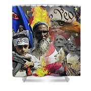 World War Three Shower Curtain by Joseph Juvenal