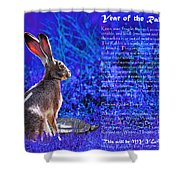 Year of the Rabbit 2011 . blue Shower Curtain by Wingsdomain Art and Photography