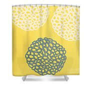 Yellow And Gray Garden Bloom Shower Curtain by Linda Woods