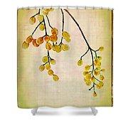 Yellow Berries Shower Curtain by Judi Bagwell