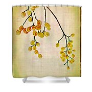 Yellow Berries Shower Curtain by Judi Bagwell