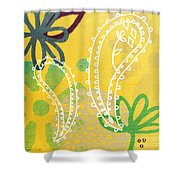 Yellow Paisley Garden Shower Curtain by Linda Woods