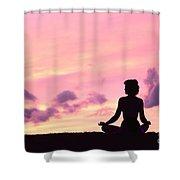 Yoga On Beach Shower Curtain by Greg Vaughn - Printscapes