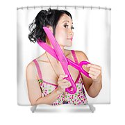 Young Beautiful Woman Cutting Hair At Beauty Salon Shower Curtain by Jorgo Photography - Wall Art Gallery