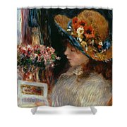 Young Girl Reading Shower Curtain by Pierre Auguste Renoir