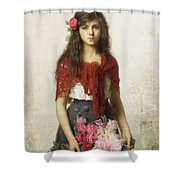Young girl with blossoms Shower Curtain by Alexei Alexevich Harlamoff