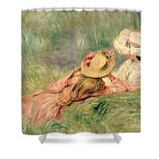 Young Girls on the River Bank Shower Curtain by Pierre Auguste Renoir