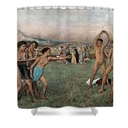 Young Spartans Exercising Shower Curtain by Edgar Degas