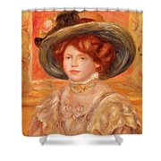 Young Woman In A Blue Hat Shower Curtain by Pierre Auguste Renoir