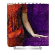Young Woman In Red On Purple Couch Shower Curtain by Jill Battaglia