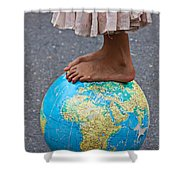 Young Woman Standing On Globe Shower Curtain by Garry Gay