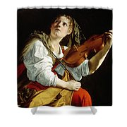 Young Woman With A Violin Shower Curtain by Orazio Gentileschi