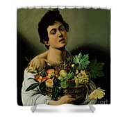 Youth With A Basket Of Fruit Shower Curtain by Michelangelo Merisi da Caravaggio