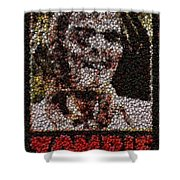 Zombie Bottle Cap Mosaic Shower Curtain by Paul Van Scott