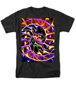 Nautilus Shell Ying And Yang - Electric - V2 - Yellow-purple T-Shirt by Wingsdomain Art and Photography