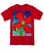Lady In Red - Poppy Flower Art By Sharon Cummings Men's T-Shirt  (Regular Fit) by Sharon Cummings