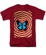 Blue Black Butterfly In Basket Men's T-Shirt  (Regular Fit) by Garry Gay