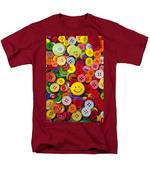 Smiley Face Button Men's T-Shirt  (Regular Fit) by Garry Gay