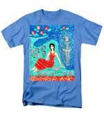 Woman Reading Beside Fountain Men's T-Shirt  (Regular Fit) by Sushila Burgess