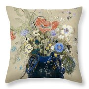 A Vase Of Blue Flowers Throw Pillow by Odilon Redon