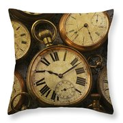 Aged Pocket Watches Throw Pillow by Garry Gay