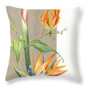 Bird Of Paradise 09 Elena Yakubovich Throw Pillow by Elena Yakubovich