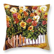Chair Of Flowers Throw Pillow by David Lloyd Glover