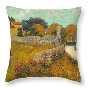 Farmhouse In Provence Throw Pillow by Vincent van Gogh