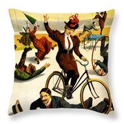 Funny Scenes of Bicycles and Roller Skates Throw Pillow by Nomad Art And  Design