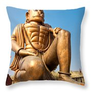 Great Bronze Hanuman - India Throw Pillow by Luciano Mortula