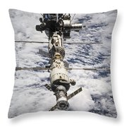 International Space Station Throw Pillow by Anonymous