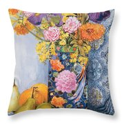 Iris And Pinks In A Japanese Vase With Pears Throw Pillow by Joan Thewsey